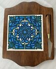 Vintage+MCM+Japanese+Ceramic+Tile+Wood+Cutting+Board+Serving+Tray+with+Knife
