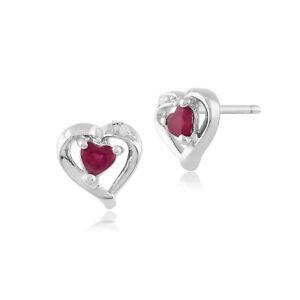 Gemondo 9ct White Gold 0.25ct Genuine Ruby & Diamond Heart Stud Earrings