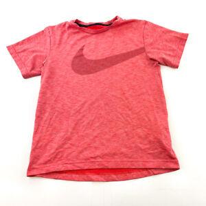 Nike Shirt Youth Medium Pink Dark Swoosh Dri Fit Kids Boys Lightweight