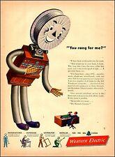 1946 vintage AD WESTERN ELECTRIC  Cute Telephone Switchboard Cartoon Man 061717