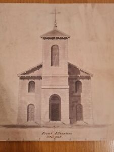 Rhymney St David's Church 1800,s 17 In X 12 In Original Architectural Drawings