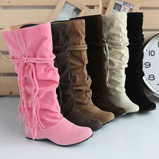 Women's Cowboy Boots Fashion Casual Lace Up Chunky Heel Knee Booties High Shoes