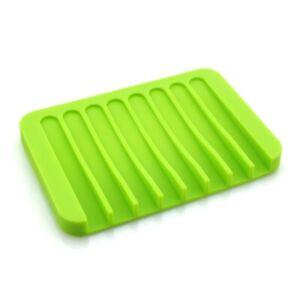 Bathroom Silicone Drain Soap Holder Anti-slip Shelf Storage Rack Organizer New