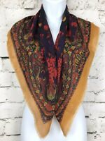 """Vintage Mustard Yellow and Red Paisley and Fruit Print Square Scarf 31x31"""""""