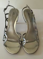 NEW Anne Klein Womens Maoutthere Silver Strappy Heels, SZ 7.5