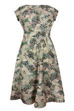 Plus Size Floral Crew Neck Calf Length Dresses for Women