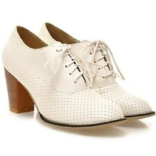 Women Oxford Brogue Mary Jane High Thick Heel Court Spring Shoes Pumps Booties