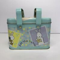Vintage Pat The Bunny Tin Container Metal Lunch Box w/ Handles, Empty 1999 Penk