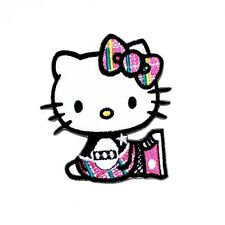 Punk Hello Kitty Rocker Cartoon Fabric Transfer Clothing Embroidery Iron Patch