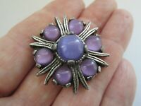Vintage Signed Miracle Amethyst Glass Silver Tone Scottish Celtic Brooch Pin