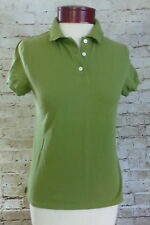 J Crew Green Vintage Pique Ripped Worn Polo Shirt Women's Size Medium