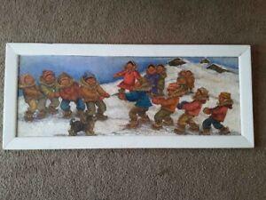 "Vintage Alaskan Artist Joan Arend Kickbush Oil Painting on Board 17 3/4"" x 45"""
