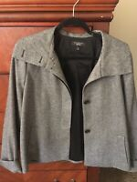 TALBOTS Grey Tweed Cape Blazer Jacket Pleat in the back Wool Blend Size 12