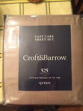 Croft and Barrow Queen Sheet Set 525 Thread Count Khaki Beige gold Nwt