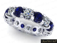 5.10Ct Round Sapphire Diamond Shared U-Prong Eternity Band Ring 14k AAAA F VS2