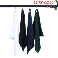 "1Pc Quick Dry Colored Microfiber Golf Towels 15.75"" X 12.60"" With Carabiner  Hw"