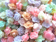 Beads - Acrylic Pastel Mix with AB Colour 13mm Flower Shapes x 80 beads (40g)