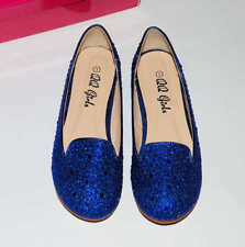 QQ Girl Blue Lovely Sparkle Loafer Shoes Girls Royal Blue Dress Shoes Size 3 NEW