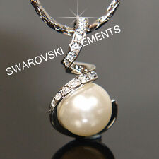 Bridesmaid White Gold Filled Pendant Necklace made with Swarovski Crystal N732