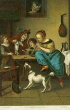 New ListingOld Jan Steen Springer Spaniel Dog Postcard Dancing Lesson c1910 Germany
