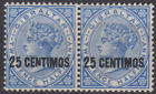"Gibraltar 1889 Mint Mounted 25c on 2 1/2d Bright Blue SG18B BROKEN ""N"" PAIR"
