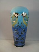 Sally Tuffin Dennis China Works Pottery Blue Tit Limited Edition Vase 22cm High