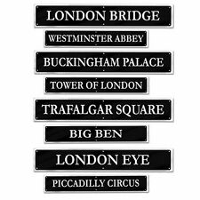 Pack of 8 London Landmark Street Signs - 10 x 61 cm - British Party Decoration