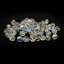 Crystal Clear AB - 50 6mm Round Faceted Fire Polish Czech Glass Beads