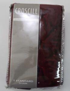 Croscill Carissa Standard Quilted Sham velvety Polyester Wine Merlot Red #CO18