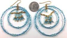 Aqua Blue Gold Beaded Big Round Circle Statement Chandelier Earrings