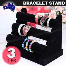 3-Tier Velvet Bracelet Holder Watch Necklace Jewelry Display Stand Black
