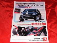 """CITROEN C2 1.4 VTR Plus """"Sport"""" Sondermodell Prospektblatt von 2006"""