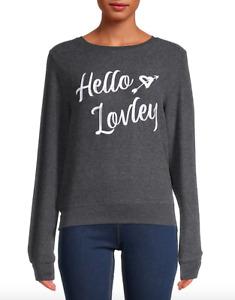 NWT Wildfox Grey Heart Slogan Pullover Sweatshirt Jumper Size S Long Sleeve