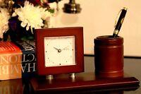 Classical Wooden Desk Table Clock With Pen Holder Business Gift Idea Quartz