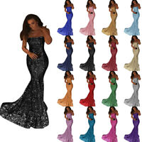 Shiny Strapless Long Mermaid Prom Bridesmaid Dress Sequins Evening Gowns US2-22W