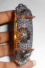 925 Vintage Wedding Engagement New Bangle Antique Rose Cut Diamond 7.04ct Silver