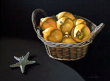 Yellow Lemon 2, Fruit, Still Life, Original Oil Painting, Signed, Wall Art Deco
