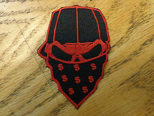SKULL BANDANNA EMBROIDERED PATCH BLACK & RED MADE IN USA