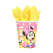 8 Disney Baby Minnie Mouse 1st Birthday Party Supplies Disposable 9oz Paper Cups