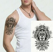 Symmetrical Mandala Lioness Flowers Tattoo Fake Sticker Women Mens Arm Leg