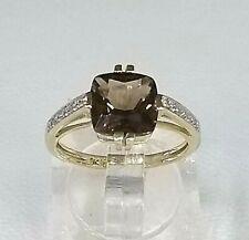 Fantastic Smokey Quartz Solitaire & Diamond Accent Ring 9ct Yellow Gold  Sz L