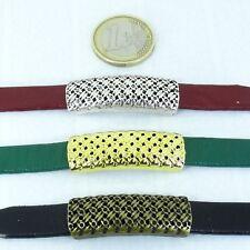 3 Abalorios Hebillas Para Cuero 38x13mm Plata Tibetana-Cobre-Dorado Leather