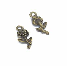 Wholesale 16pcs Tibet silver Rose Flower Charm Pendant beads Jewelry Making HOT
