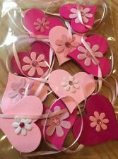 Pink Heart Garland/Bunting Shabby Chic Real Wood Hearts Pinks Flowers Double 6ft