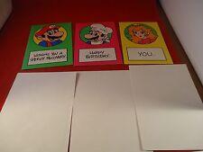 Lot of 3 Nintendo NES Greeting Cards Mario Princess UNUSED Birthday Get Well