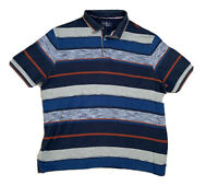 M&S POLO T.SHIRT WITH 3 BUTTONS & STRIPES IN BLUES, GREY & DARK ORANGE - XL