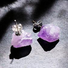 Women  Raw Amethyst Earrings Irregular Stone Natural Crystal Quartz  Ear Stud