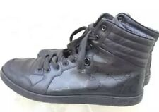 GUCCI MENS GG IMPRIME LACE UP HIGH TOP BLACK  LEATHER SNEAKERS 224778 SZ 9.5