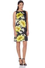 Roman Originals Women's Yellow Daisy Border Print Dress Sizes 10-20