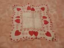 """Vintage Hankie Valentines Red Heart & Flowers w/Scalloped Edge 13 1/2"""" New w/tag"""